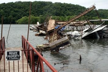Damaged boat dock